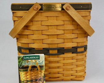Longaberger 1999 Collectors Club Membership Basket with a Hard Plastic Protector