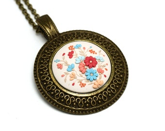 Polymer Clay Jewelry Polymer Clay Necklace Pendant Fashion Jewelry Floral Pendant Necklace Polymer clay applique Beige pendant Gift for her