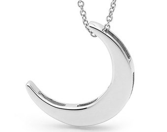 crescent moon Necklace, Sterling Silver CRESCENT MOON Pendant on a silver cable chain
