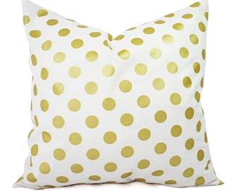 Two Metallic Gold Pillow Covers - Metallic Pillow Cover - White and Gold Pillow Cover - Decorative Pillow - Polka Dot Pillows