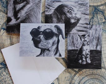 "Assorted Charcoal Notecard Set of 40 - 5.5""x4"""