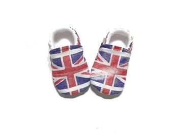 UNION JACK Union Flag Toddler Moccs, Union Jack Infant Moccasins, Royal Union Baby Moccasins, United Kingdom Flag, British Flag, England