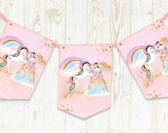 Unicorn Bunting, Unicorn Banner, Princess Birthday, Unicorns and Princess, Unicorn Birthday Decorations, Unicorn Party