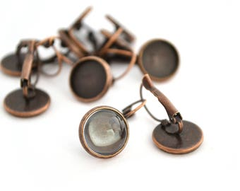 2 Stud Earrings color copper with glass cabochon 12mm