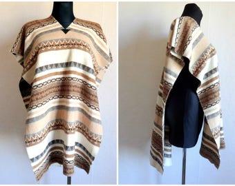 Vintage Geometric Print Blanket Poncho Shawl Poncho Women's Autumn Accessory Brown White Poncho Scandinavian Clothing