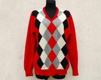 Vintage Lambs Wool Sweater Men's Argyle Sweater Men