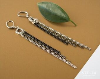 Boucles d'oreilles longues chaines, frange de chaîne, boucles d'oreilles cascade de chaines, bijou chaîne noire minimaliste, chaîne laiton