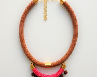 Rope necklace, Brown necklace, pink necklace
