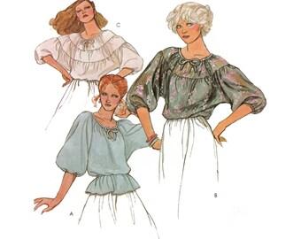 70's Peasant Blouse Sewing Pattern, Misses Size Petite 6-8 UNCUT Vintage 1970's McCall's 6418