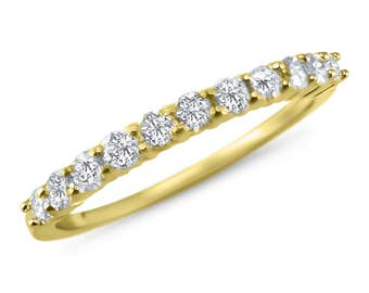 1/3 carat dainty diamond anniversary band 14k Rose gold stackable wedding ring -stackable band