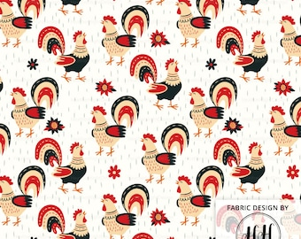 Spring Rooster Fabric By The Yard - Farm Country Fabric - Chicken Quilting Print in Yards & Fat Quarter
