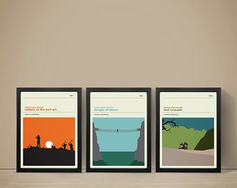 INDIANA JONES Inspired Movie Posters - Set of Prints, Movie Prints, Film Poster, Indiana Jones Poster, Retro Poster