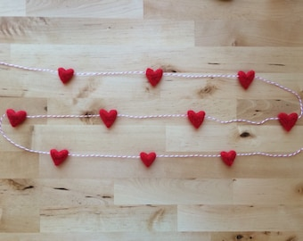 Wool heart garland, Red, on red striped baker's twine, 6ft, heart theme Valentine decor, Valentines day garland, red felt heart garland