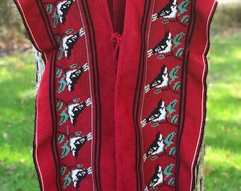 handmade red poncho/vest with bird pattern