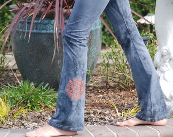 Tall Gray Hand Dyed Yoga Pants with Optional Hand Painted Chakra Design including Extra Long and Plus Sizes by Splash Dye Activewear