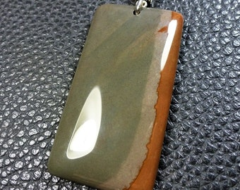 Beautiful Rectangular Natural Tones Picasso Jasper Plated Silver Pendant
