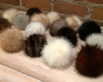 Recycled Mink Fur Shoe Poms - Pair of Mink Shoe Pom Poms - 2-Inch