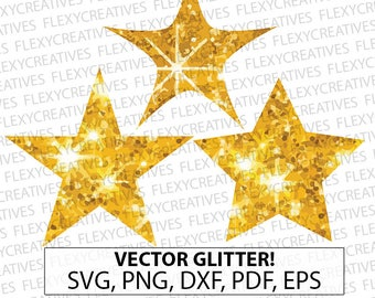 Gold Glitter stars SVG, Clipart, Cut File, star svg, Vector Glitter Gold stars Cricut svg, png, DXF, pdf, EPS #vc-52