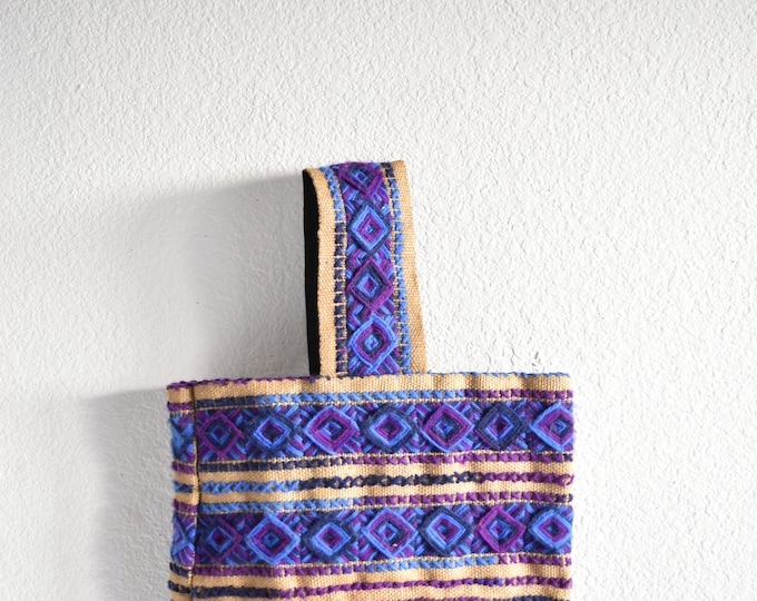 boho embroidered blue purple diamond hand bag / hippie summer bag