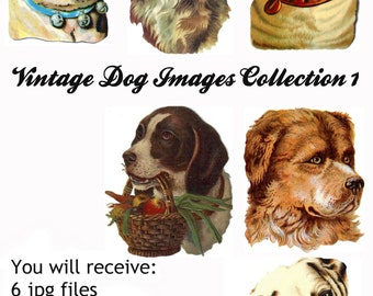6 Vintage Victorian Dog Scrap Images Group 1, in jpg, gif, png and pdf files for Altered Art Projects, Scrapbooking, Instant Download