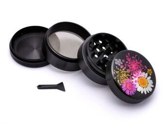 Herb Grinder - Black Aluminum Alloy REAL Embedded Flowers Picture Grinder