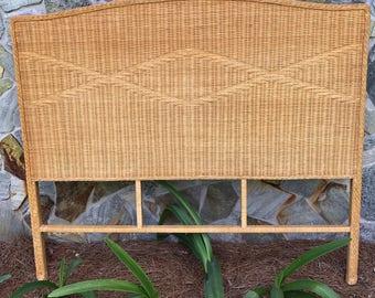Vintage  Wicker Headboard, Queen Size, Bed Room Furniture,