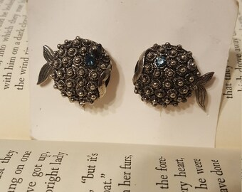 Vintage Blowfish Earrings signed by Gall