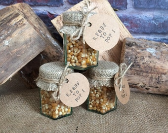 20 x Baby shower popcorn jar favours - 'Ready to pop!'