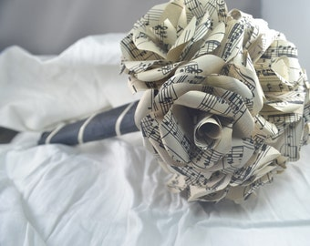 Sheet Music Paper Flower Bouquet, Wedding Bouquet, 8 Paper Flowers
