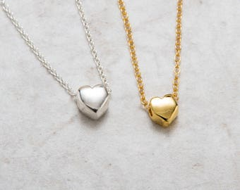 Heart Necklace Gold , Valentine's Gift for Her , Tiny Floating Heart Charm Necklace , Bridesmaid Gift , 18K Gold Filled