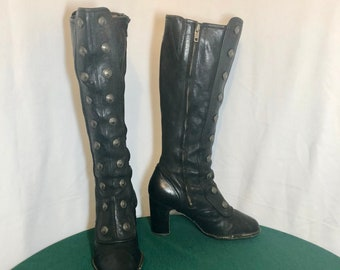 Sz 8.5 M Vintage Tall Black Genuine Leather 1990s Women Frye Zip Up High Heel Riding Boots.