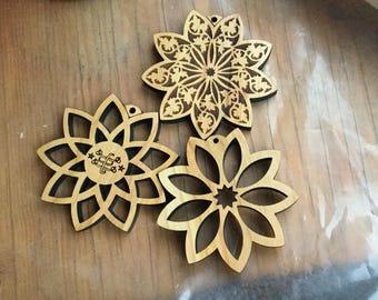 Set of Three Wood Nine-Pointed Star Ornaments