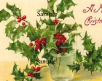Vintage Christmas Digital 9 x images Holly and Berries cardmaking gift tags tag Printable Download Scrapbooking collage