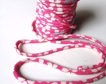 Cords, 3mm, Chirimen Japanese cherry blossoms, pink and white (C3015-3)