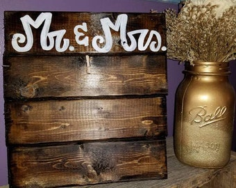 Mr. and Mrs. Wood Picture Frame 4x6, 5x7, or 8x10 (customize)