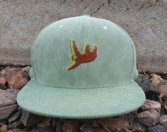 Sloth Snapback Hat / Pistachio Corduroy with Brown Sloth