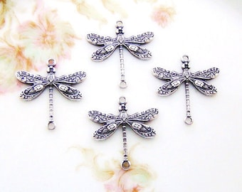 Ornate Art Nouveau  Antiqued Silver Ox Dragonfly Connectors 17mm 2 Ring Links - 4