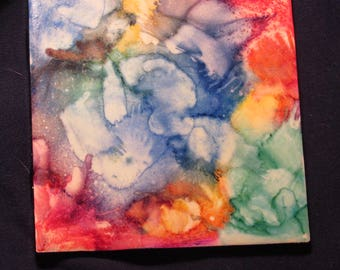 Alcohol ink Coaster, individual or set of 2