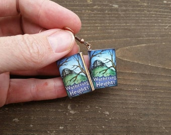 Wuthering Heights Emily Bronte Miniature Book Charm Earrings - Gifts for Girls - Book Lover - Teacher jewelry