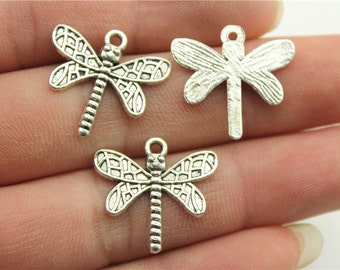 10 Dragonfly Charms, Antique Silver Tone (1A-68)