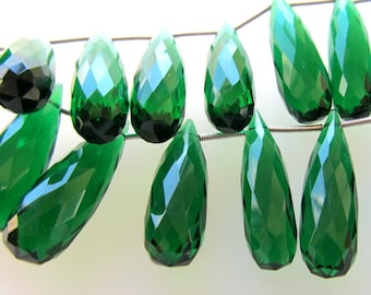 Emerald Green Faceted Elongated Crystal Quartz Teardrop Briolettes 30 X 8mm - 4 inch Strand