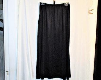 Vintage 90s Black Nylon Calf Length Half Slip Lace L Vanity Fair