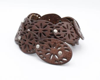 Brown Leather Rosette Concho Belt
