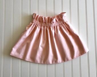 Little Blush Skirt Handmade High Waisted Blush Pink Elastic Waist High Waist Skirt