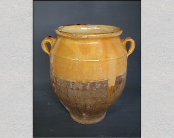 A French Antique Confit Pot, Rustic French Pot, Yellow Glaze and Terrocotta