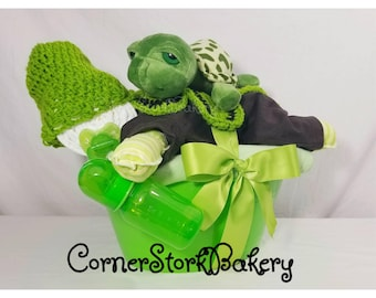 Baby Diaper Cake| Turtle Diaper Cake| Baby Gift Basket| Green Baby Gifts| Baby Shower Centerpiece| Diaper Cake| Centerpiece| Turtle| Baby