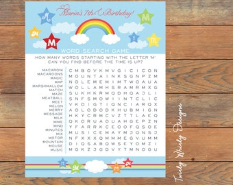 Over the Rainbow Birthday Word Search Game Printable