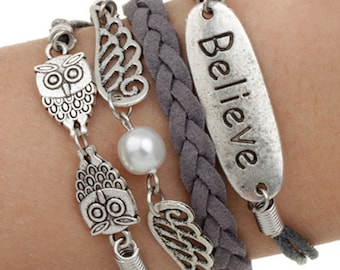 Multi Row Grey Believe Pearl Owl Knot Braided Chord Silver Plated Charms