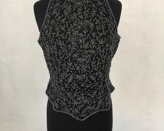 Black sequin beaded sleevless top