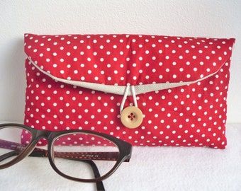 Polka dot fabric glasses case